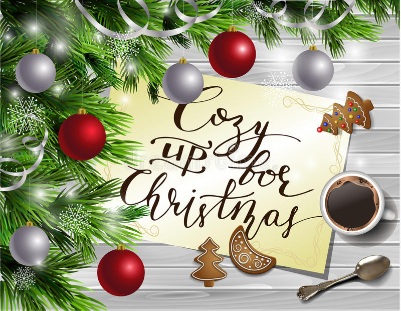 Christmas New Year design wooden background. Christmas New Year design light wooden background with christmas tree and silver and red balls and handwritten Cozy vector illustration
