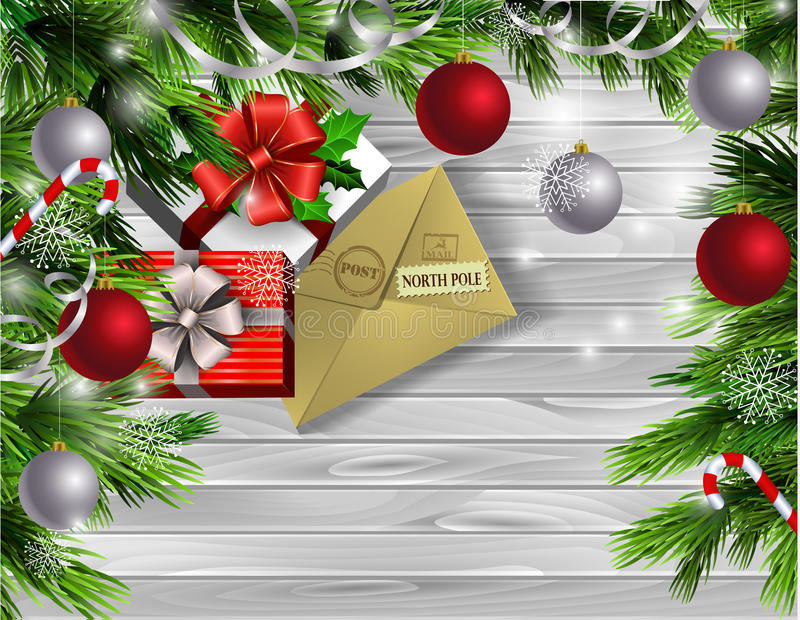 Christmas New Year design wooden background. Christmas New Year design light wooden background with christmas tree and silver and red balls and letter for santa stock illustration