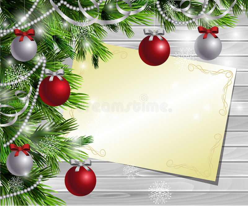 Christmas New Year design wooden background. Christmas New Year design light wooden background with christmas tree and silver and red balls and wish list vector illustration