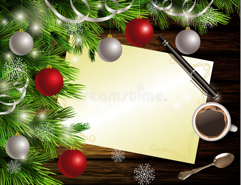 Christmas New Year design wooden background royalty free illustration
