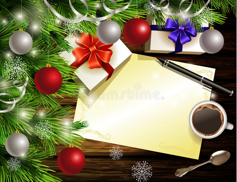 Christmas New Year design wooden background. Christmas New Year design light wooden background with christmas tree and silver and red balls and wish list coffee vector illustration