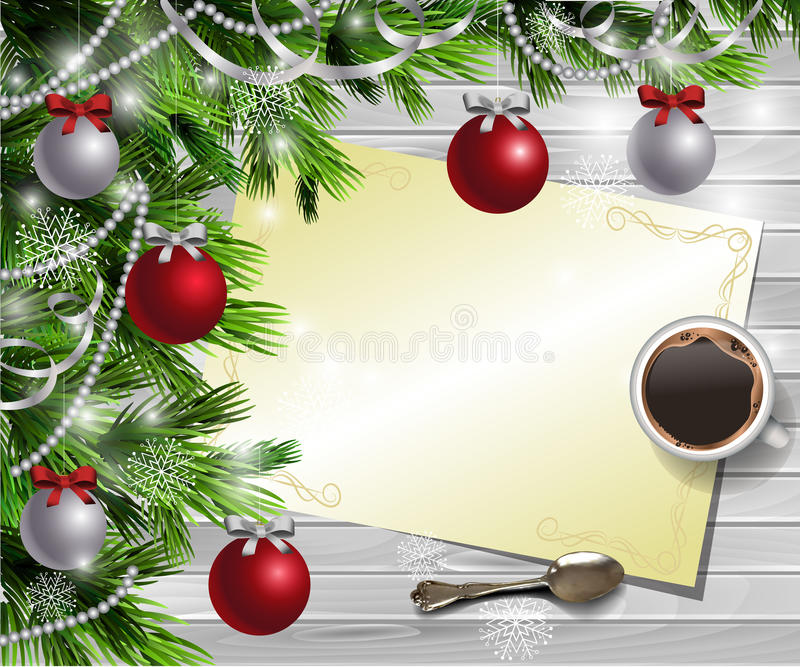 Christmas New Year design wooden background. Christmas New Year design light wooden background with christmas tree and silver and red balls and wish list with a royalty free illustration