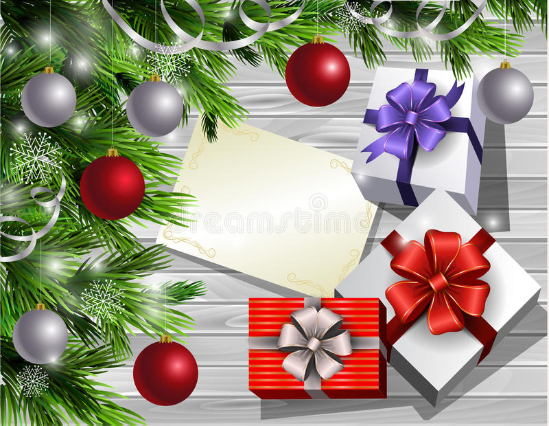 Christmas New Year design wooden background. Christmas New Year design light wooden background with christmas tree and silver and red balls and wish list with stock illustration