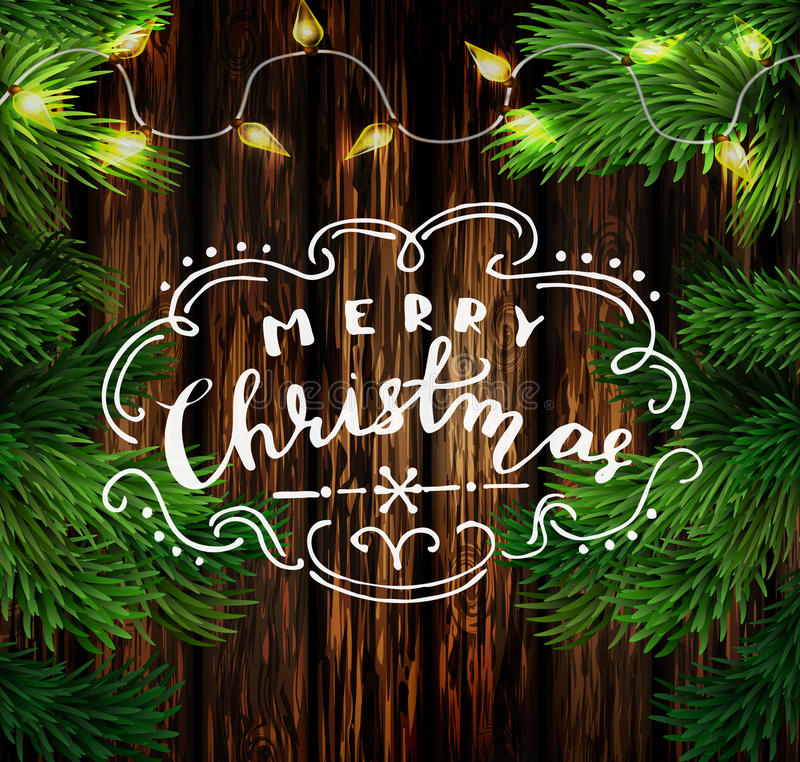 Christmas New Year design wooden background. With christmas lights garland and handwritten Merry Christmas. Vector illustration royalty free illustration