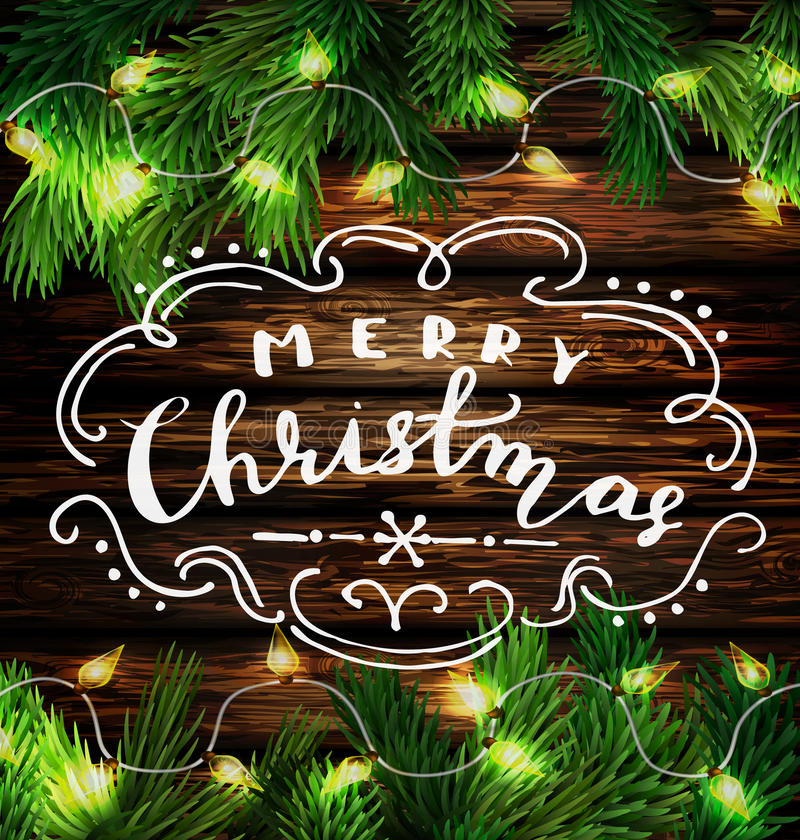 Christmas New Year design wooden background. With christmas lights garland and handwritten Merry Christmas. Vector illustration vector illustration
