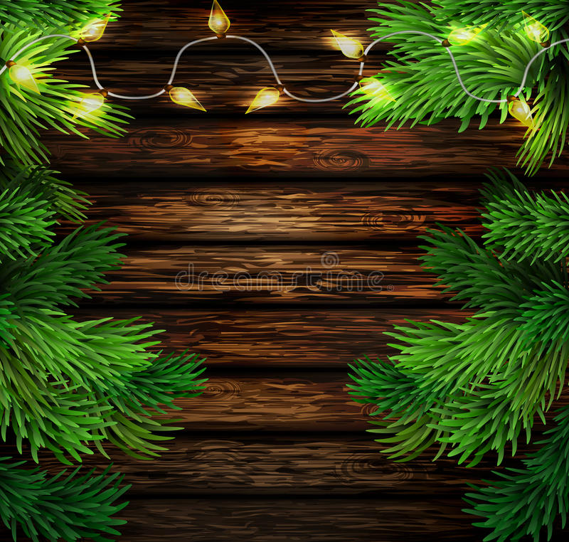 Christmas New Year design wooden background. With christmas lights garland. Vector illustration vector illustration