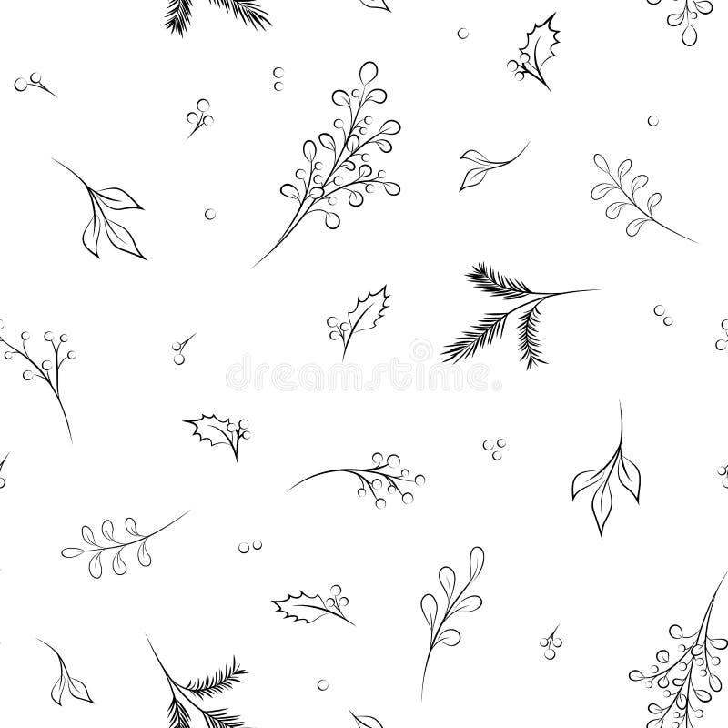 Christmas New Year evergreen conifers pattern stock illustration