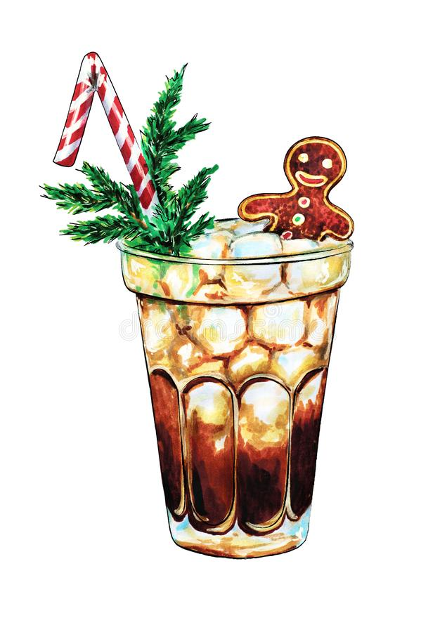 Christmas New Year Eye Holiday Winter Soda Cola Long Island Iced Tea Cocktail Party Hand Drawn Food Illustration vector illustration