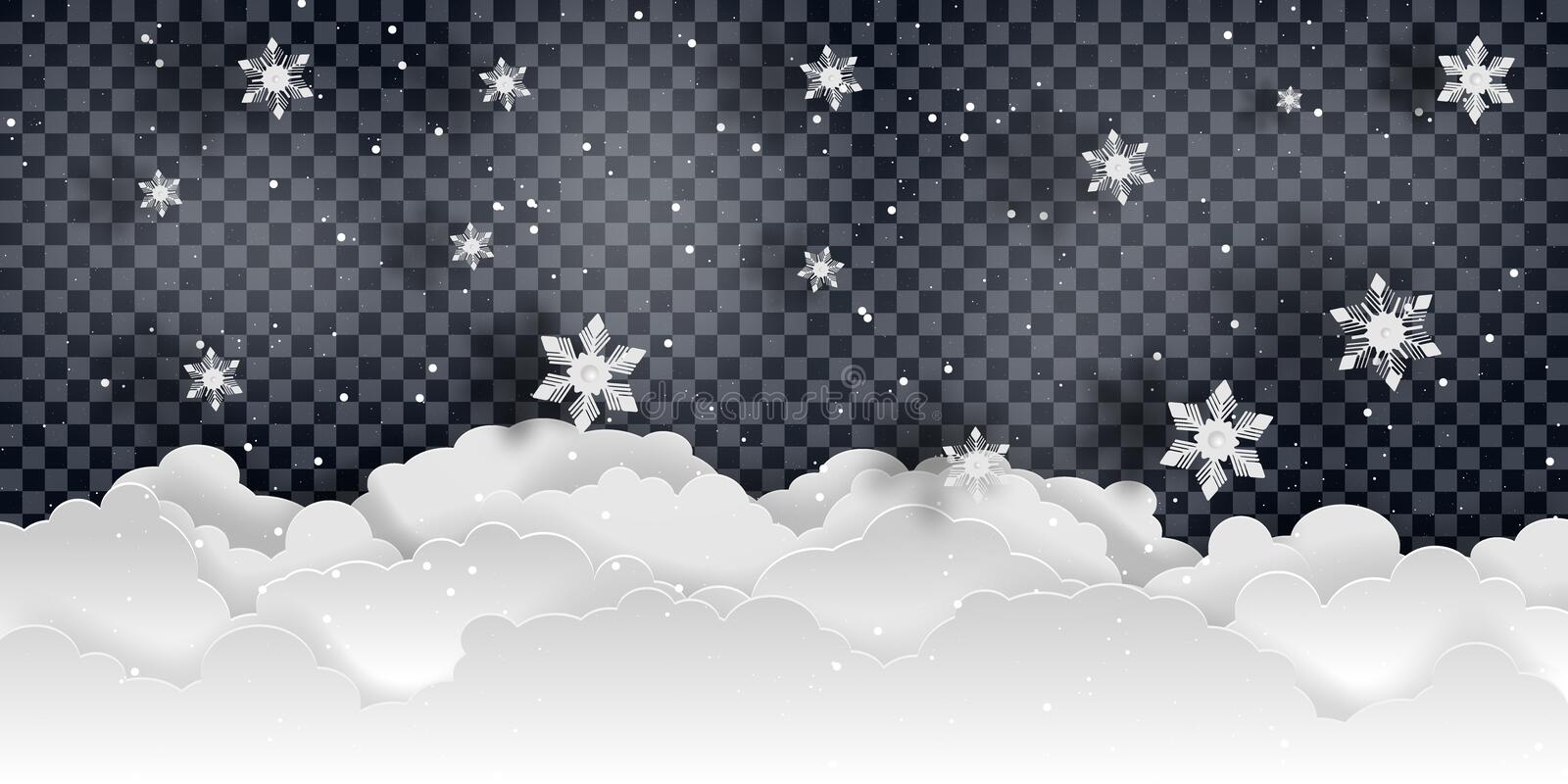 Christmas and new year. Falling snow vector vector illustration