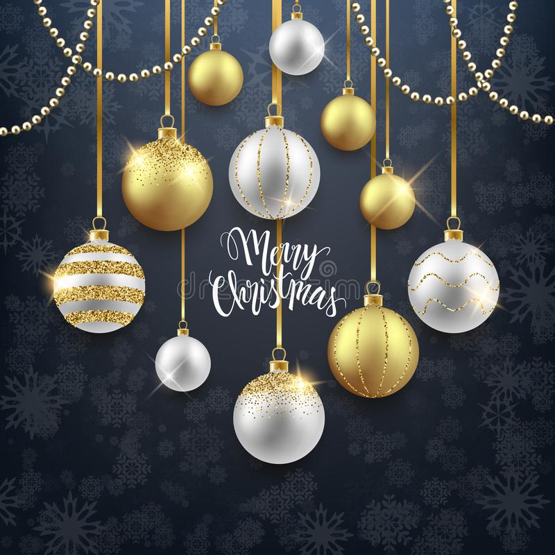 Christmas and New Year festive background design, decorative gold balls with confetti, vector illustration royalty free illustration