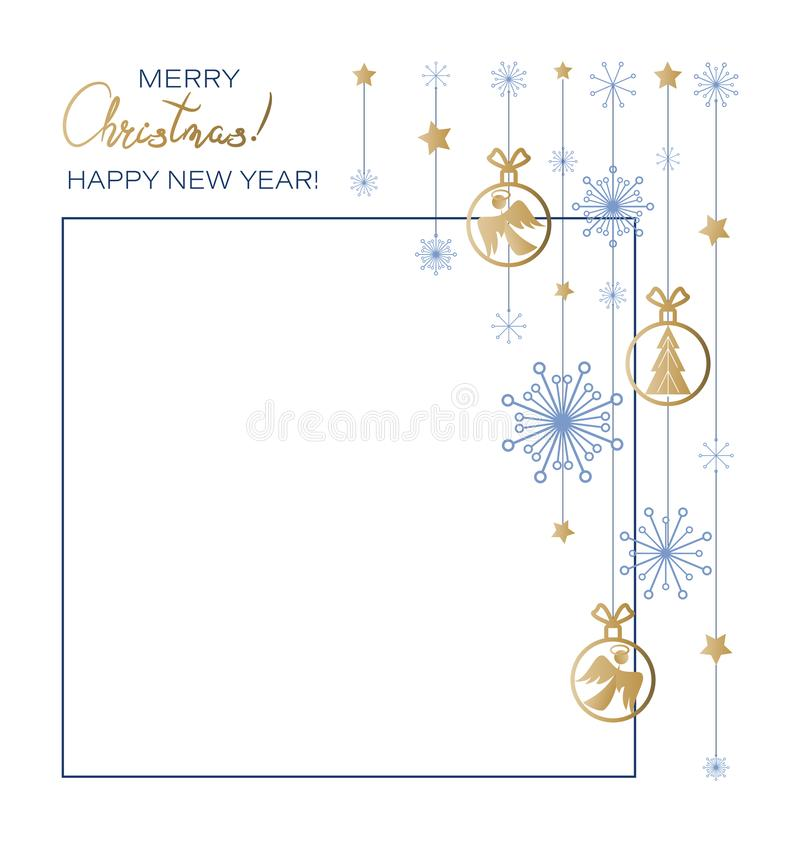Free Christmas. New Year. Festive Frame With Toys, Angels, Spruce, Snowflakes, Stars. Royalty Free Stock Photo - 165241275
