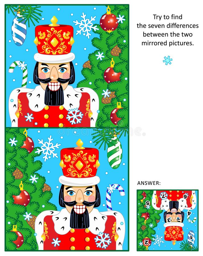 Christmas or New Year find the differences picture puzzle with nutcracker vector illustration