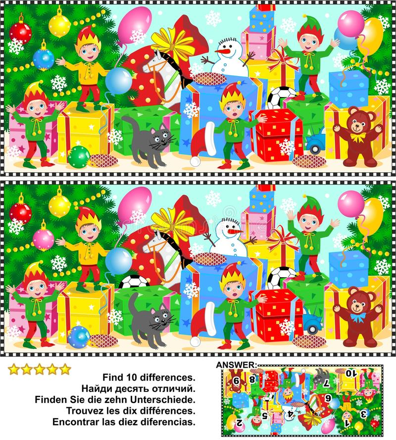 Christmas or New Year find the differences picture puzzle vector illustration