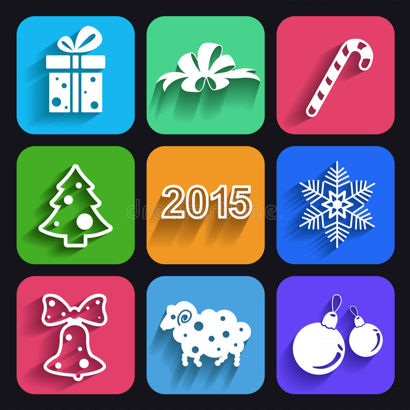 Christmas and new year flat icons with long shadows. stock illustration