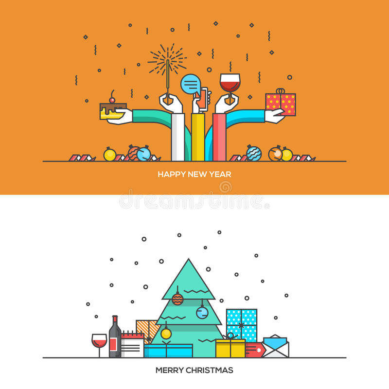 Christmas and New Year flat line design. Concept for web banner, marketing material and greeting cards. Vector Illustration stock illustration
