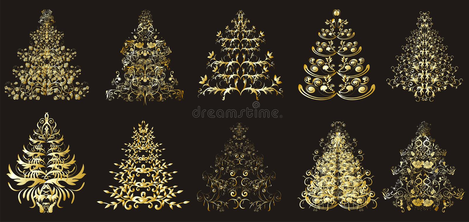 Download Christmas Or New Year Floral Trees Stock Images - Image: 17490124