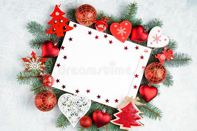 christmas or new year frame composition. christmas decorations in red colors with empty copy space for text. holiday and royalty free stock photos