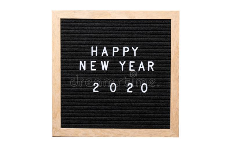 Christmas or new year frame or mockup for your project. Happy new year 2020 words on a letter board isolated on white background.  royalty free stock photography