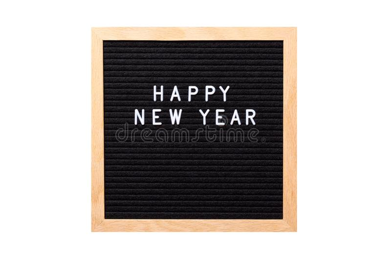 Christmas or new year frame or mockup for your project. Happy new year words on a letter board isolated on white background stock photos