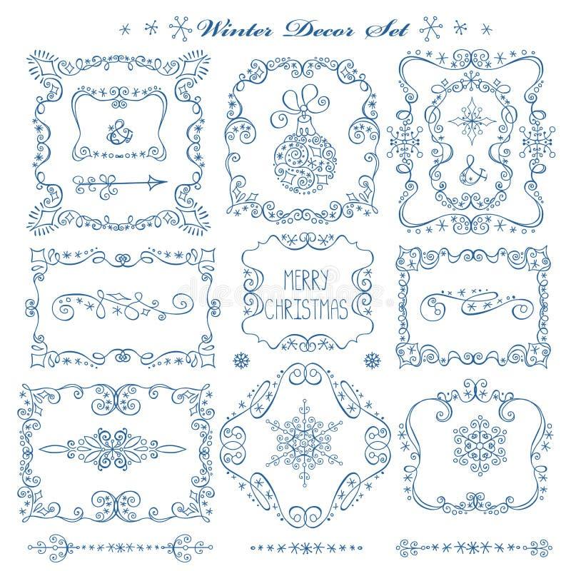 Christmas,New year frames,borders decor set stock illustration
