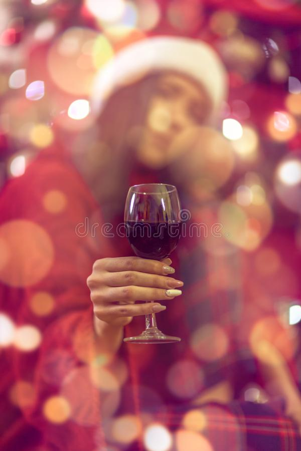 Christmas and New Year.galss wine stock images