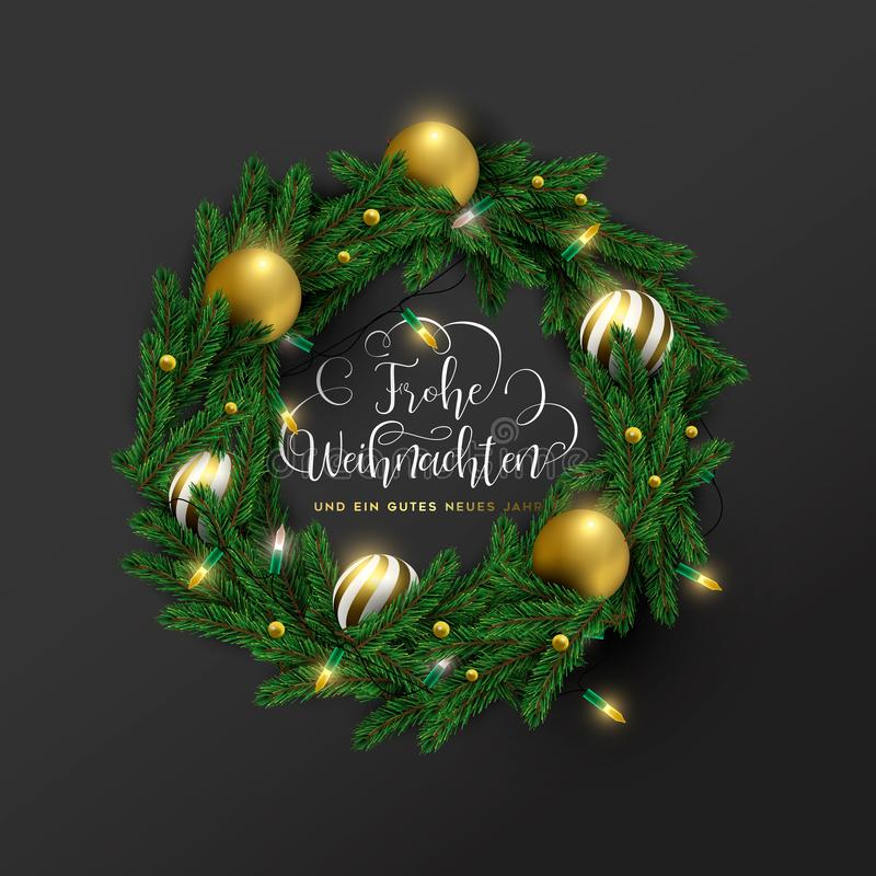 Christmas new year german ornament wreath card royalty free stock photography