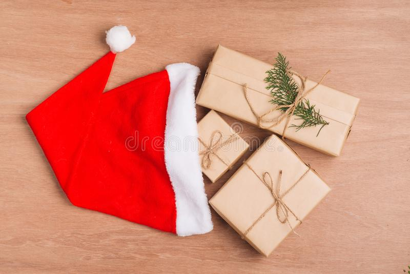 Christmas or New year gift boxes collection wrapped in kraft pap stock images
