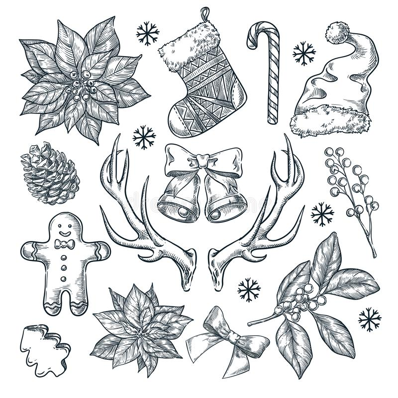 Christmas and New Year gift decoration. Vector sketch hand drawn illustration. Winter holiday design and decor elements royalty free illustration
