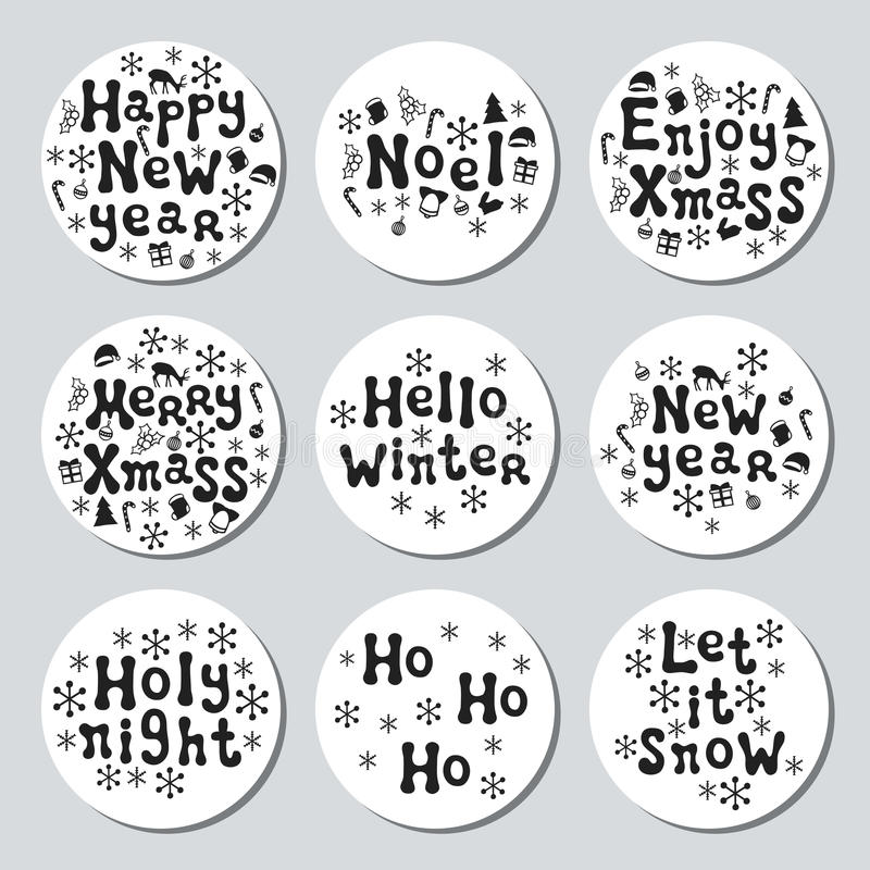 Download christmas new year gift round stickers labels xmas set hand drawn decorative element
