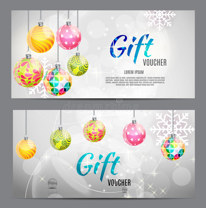 Christmas and New Year Gift Voucher, Discount Coupon Template Vector Illustration royalty free illustration