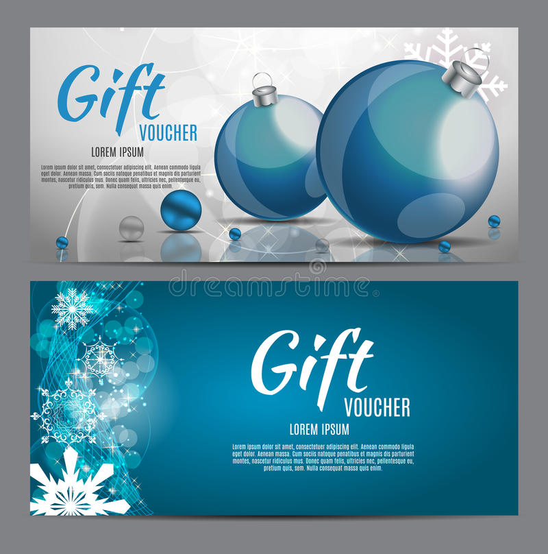 Christmas and New Year Gift Voucher, Discount Coupon Template Vector Illustration vector illustration