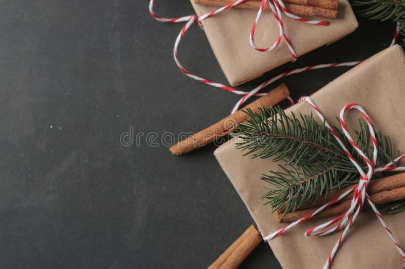 Christmas and New Year gifts on a black background with a place for an inscription. view from above royalty free stock photography