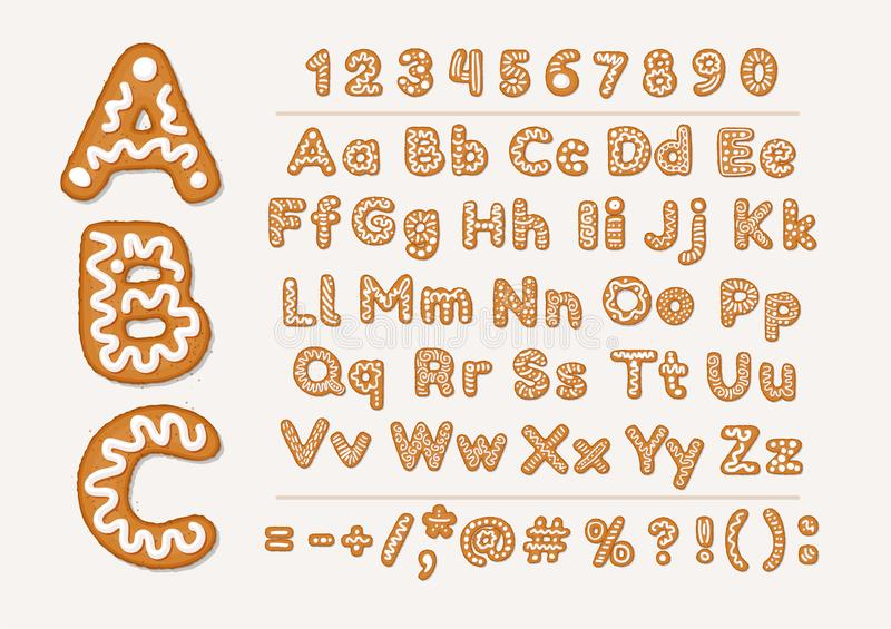 Christmas or New Year gingerbread cookies alphabet with arabic numbers and signs. Set of isolated alphabet, cookie stock illustration