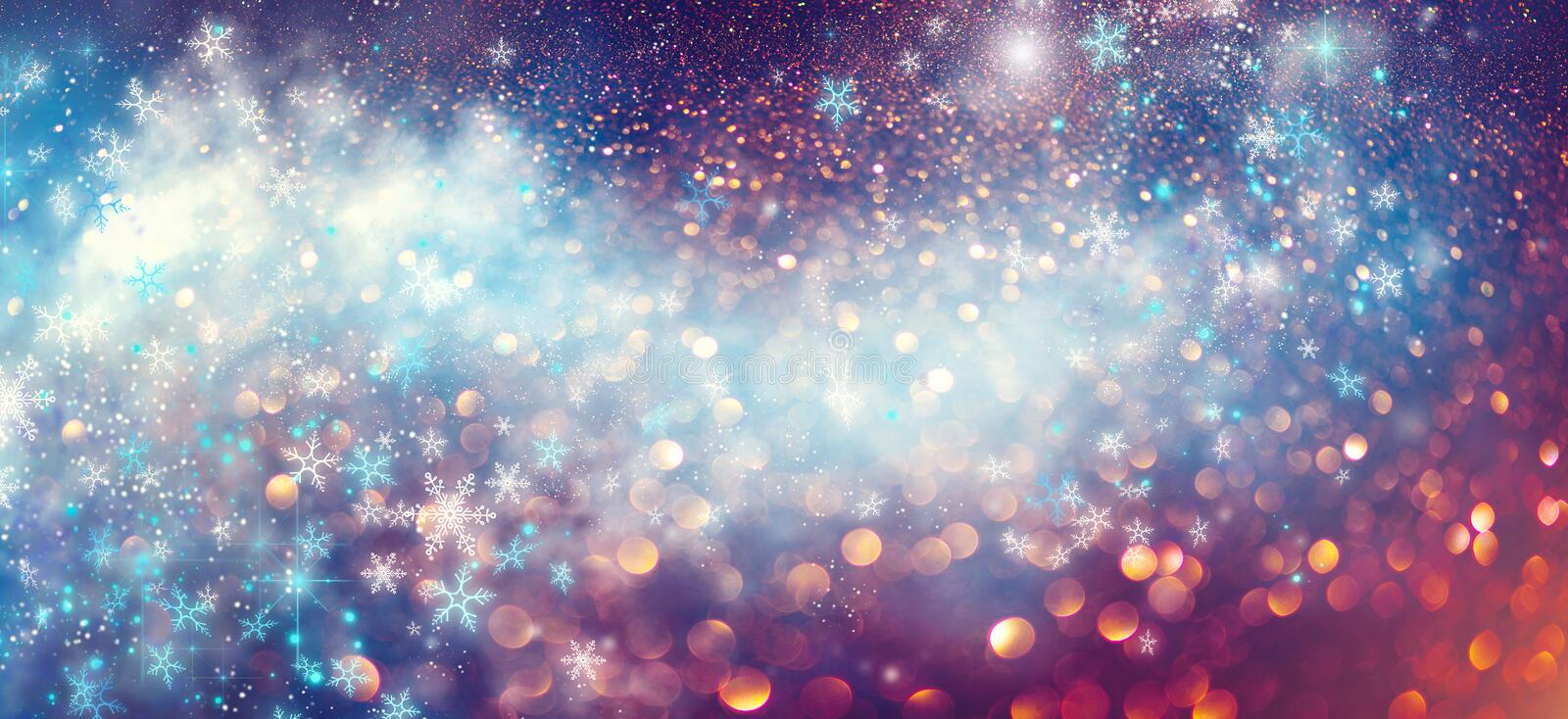 Christmas and New Year glittering winter snow flakes swirl bokeh background, backdrop with sparkling blue stars, holiday garland. Magic glowing stars, lights vector illustration