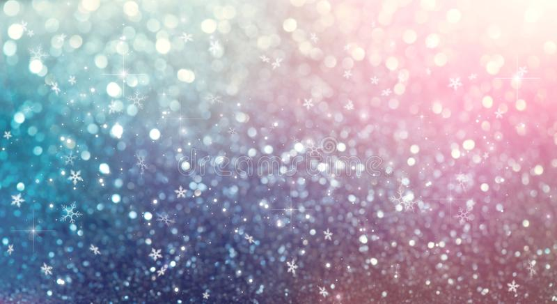 Christmas and New Year glittering winter snow flakes swirl bokeh background, backdrop with sparkling blue stars, holiday garland. Magic glowing stars, lights stock illustration