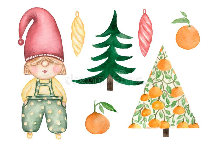 Christmas and New Year gnome collection. Set of Christmas icons, watercolor illustration isolated on white background. Cute gnome, stock illustration