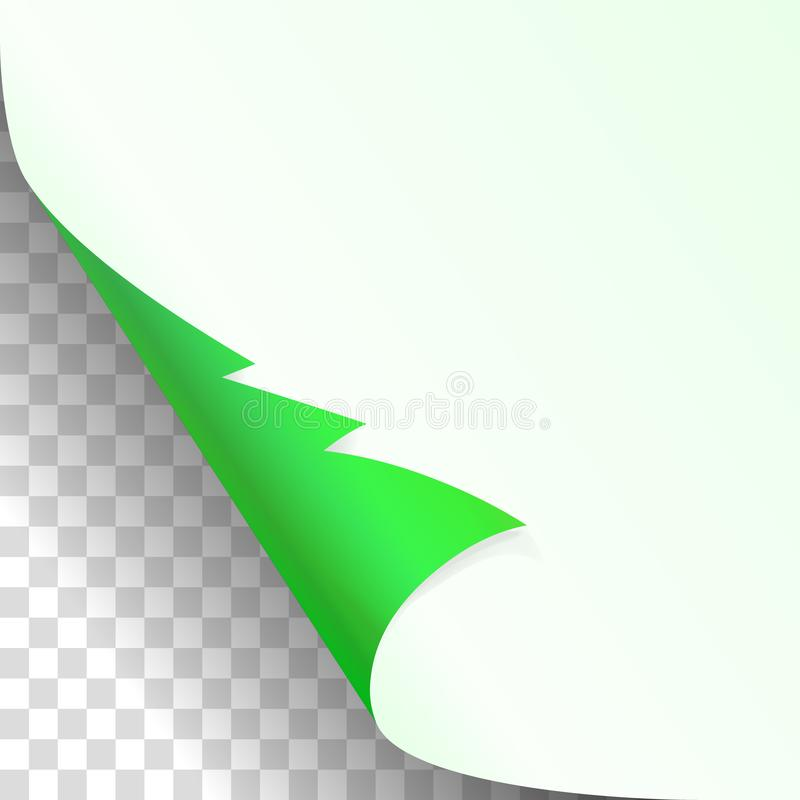 Christmas, new year green curled corner of white paper with shadow up close mockup Isolated on transparent Background. Vector illu stock illustration