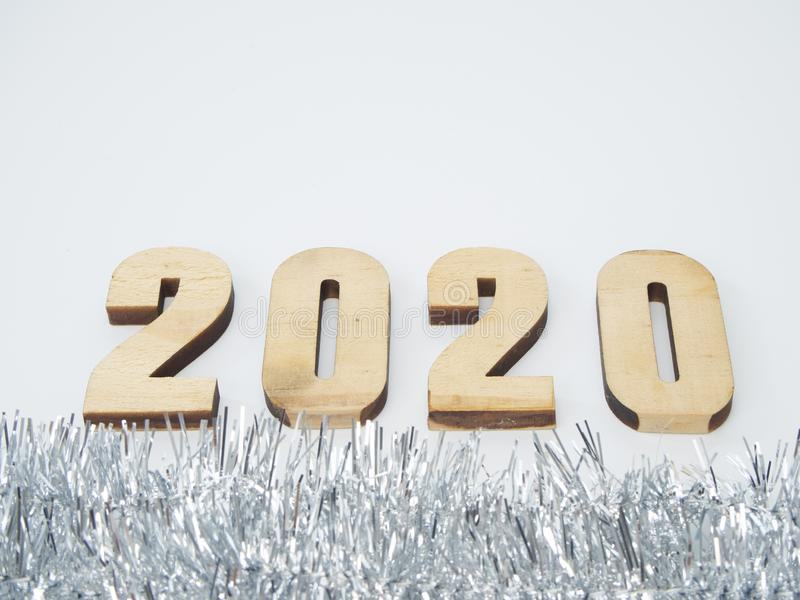 Symbol from number 2020. Festive New Year royalty free stock photos