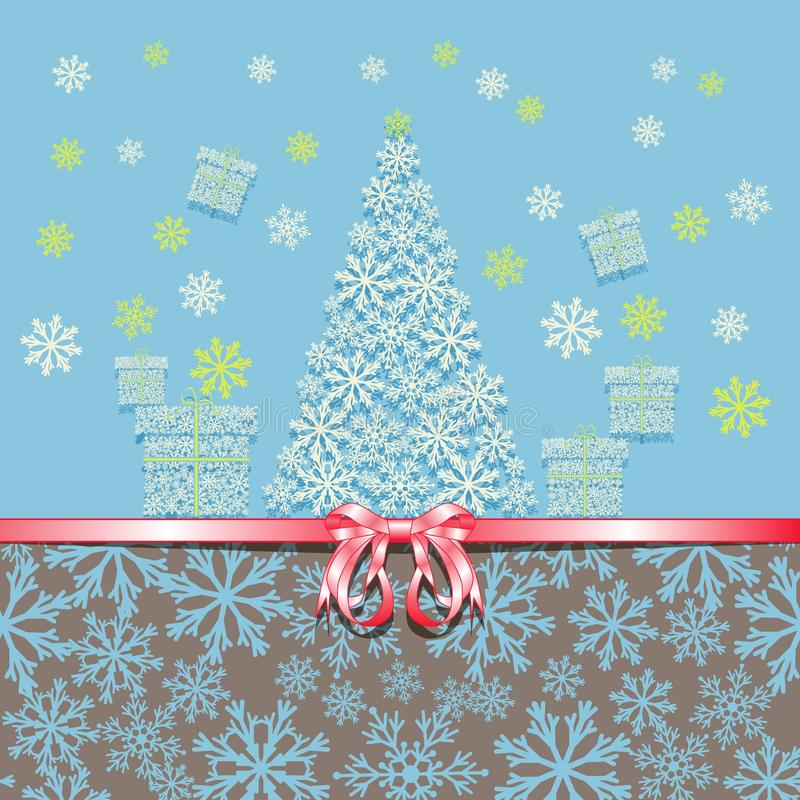 Christmas and New Year. Greeting card with pink bow Christmas tree and gift boxes made from snowflakes. royalty free illustration
