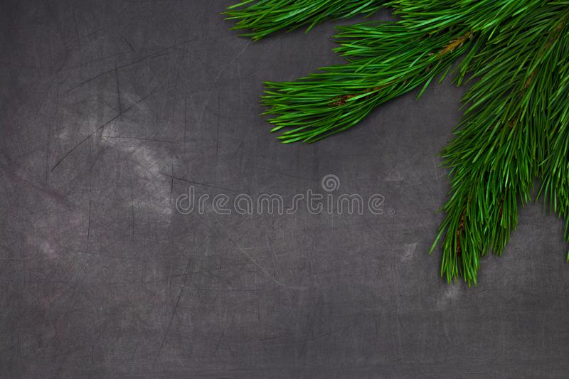 Christmas and New Year greeting card with spruce tree brunches f royalty free stock photography