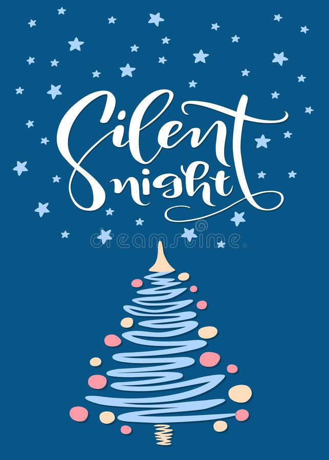 Christmas and New Year greeting card with tree and brush lettering Silent Night. Handwritten calligraphy design. Vector illustration vector illustration