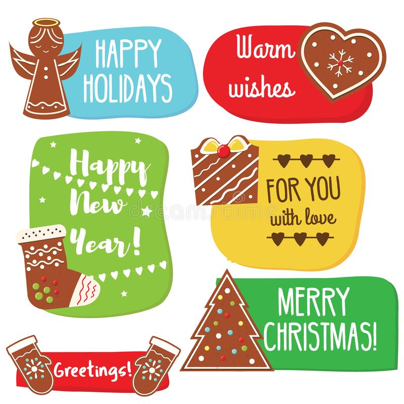 Christmas and New Year greeting tags with gingerbread cookies. Traditional seasonal warm wishes stock illustration
