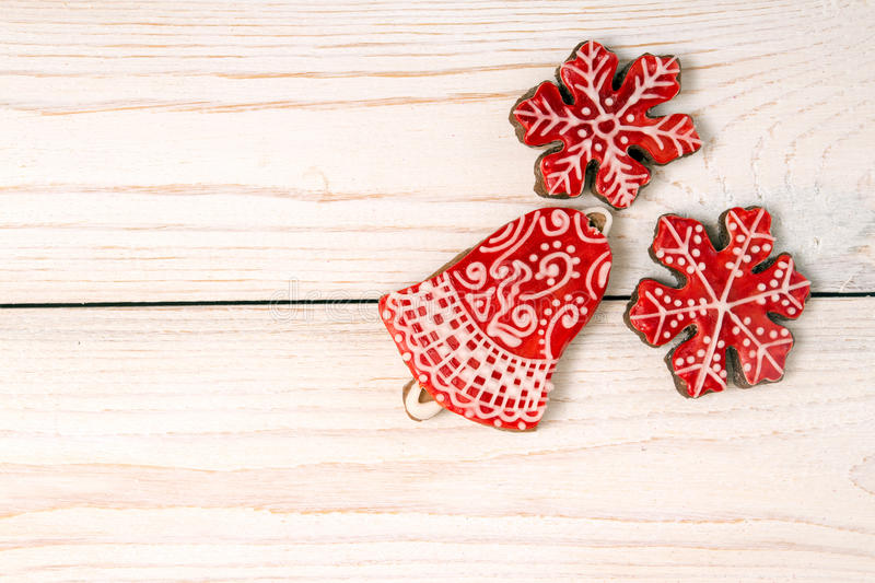 Christmas New Year holiday background. Red gingerbread cookies royalty free stock image