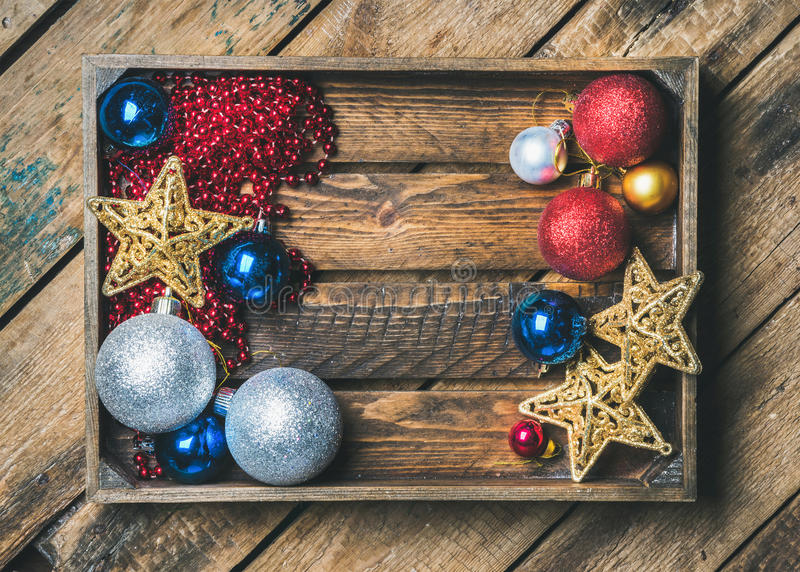 Christmas or New Year holiday decoration background, copy space royalty free stock images