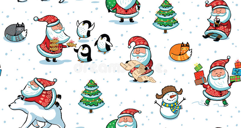 Christmas and New Year holiday pattern with funny Santa Claus stock illustration