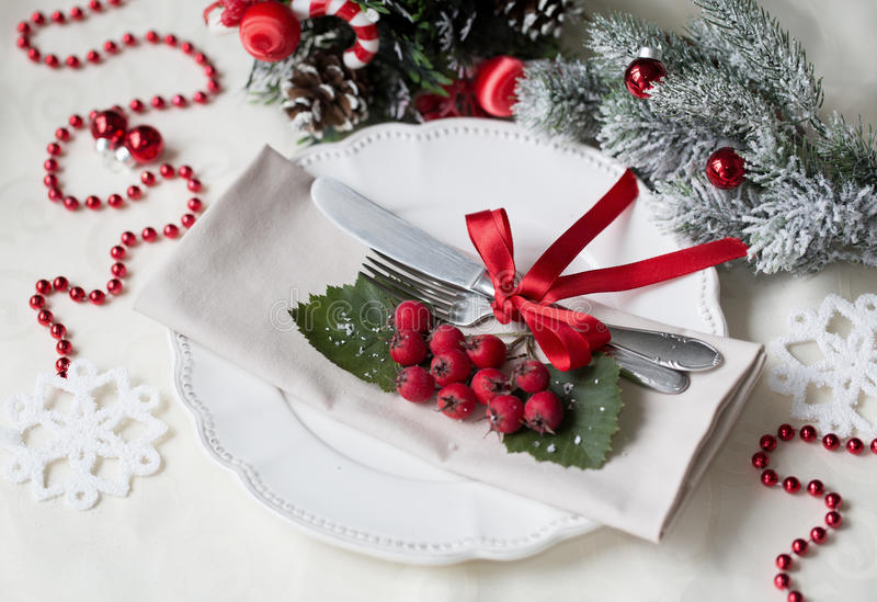 Christmas And New Year Holiday Table Setting. Celebration. Place ...