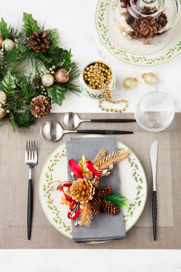 Christmas And New Year Holiday Table Setting Celebration Place ...
