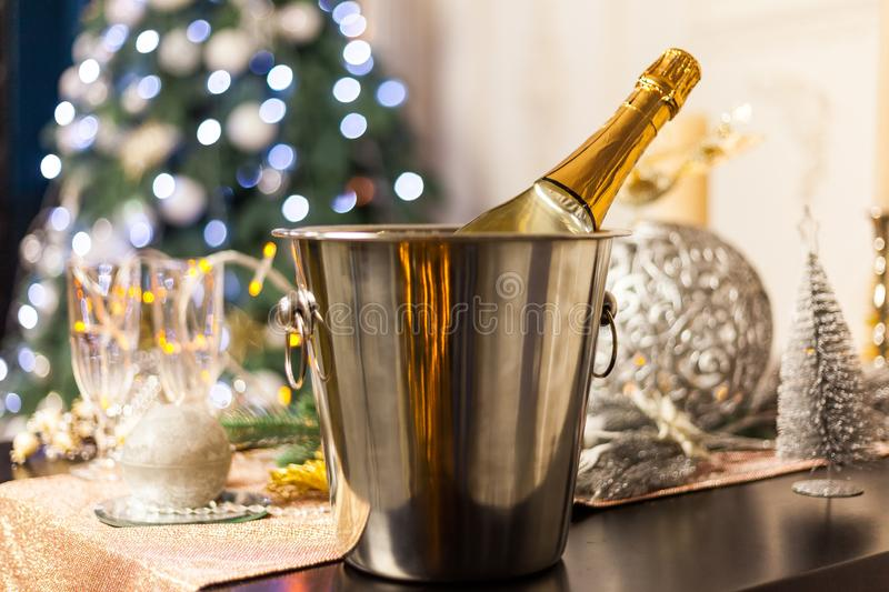 Christmas And New Year Holiday Table Setting with Champagne. Celebration stock photo