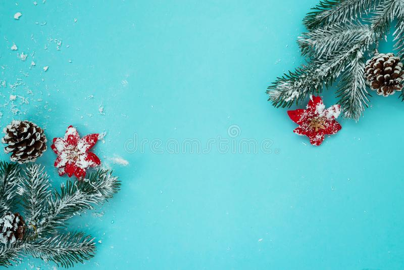 Christmas and New Year holidays background with snow fir tree and pine cones on blue background , winter season stock photo