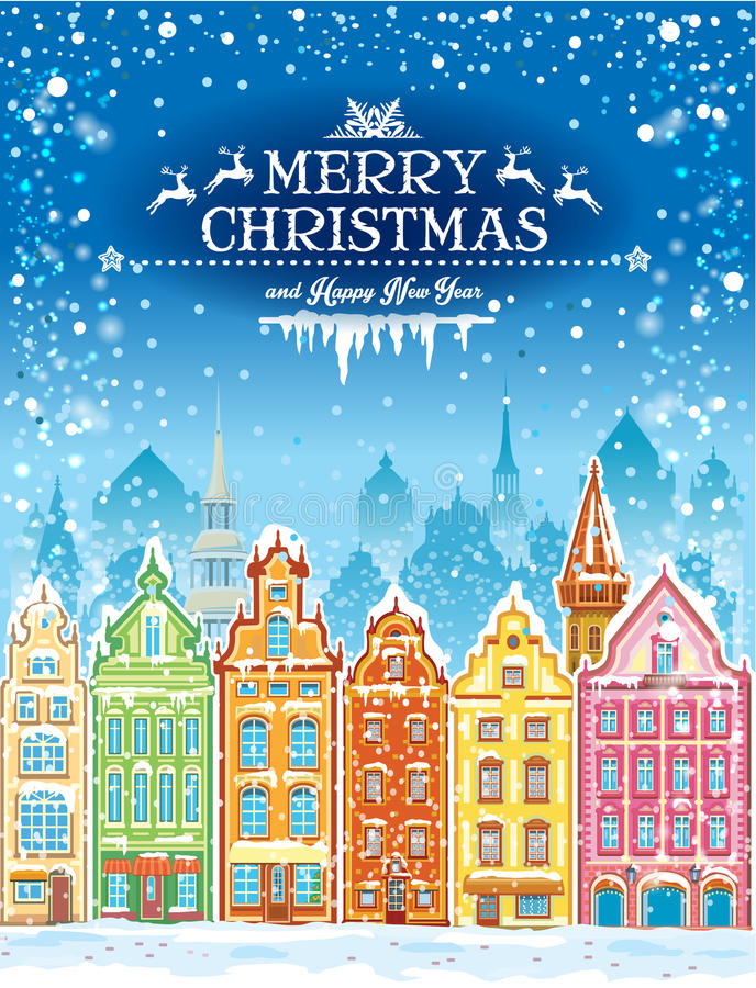 Christmas and New Year holidays card with snowy town royalty free illustration